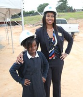 Morgan Elementary Principal Dr. Terese Martin with student Iscia Daranabu