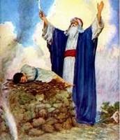 Abraham fixen to sacrafice his son Isaac.