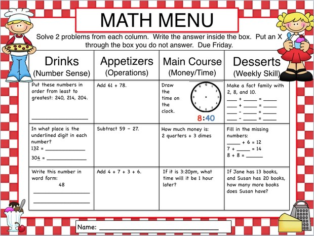 Choice Boards Menus  TicTacToe