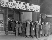 People lined up for employment in the 1920s.