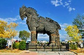 This is the wooden horse statue they used to attack Greece