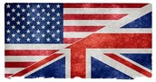 America flag with Britain flag.