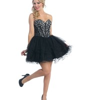 Strapless black dress with silver sarkles