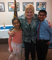 Mrs. Shepard, Om & Amelia at the Speech Contest!