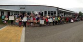 Supporting our classmates as they departed for the Special Olympics!