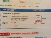 Formula to finding the 'volume of a cylinder'