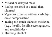 Shows possible causes of hypoglycemia