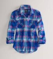 Azul cuadros camiseta