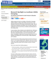 Research Spotlight on Academic Ability Grouping: NEA Reviews of the Research on Best Practices in Education