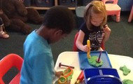 Our friends loved using our play dough and play dough tools!