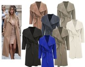 Womens Ladies Italian Design Long Waterfall Belted Long Sleeve Trench Coat Cape
