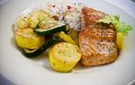 Seared Salmon Rice Pilaf & Roasted Squash & Zucchini