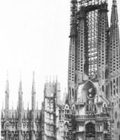 Las obras de la Sagrada Familia en 1928, tal como pudo verlas Gaudí antes de morir.