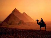 Pyramids in the sunset