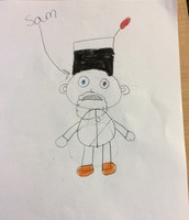 This is sam ms Sheahan red a story and we had to visualize what he looked like
