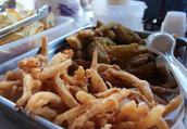 Fried pickels and onion rings