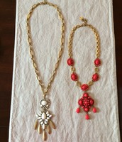 Mallorca Pendant (white) and Sardinia Necklace (red)
