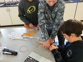 7th graders designing catapults in STEM