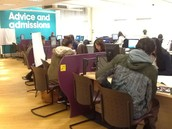 Busy Student Services in the morning