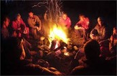 Camp Fire at Night.