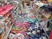 Products that fell during the quake