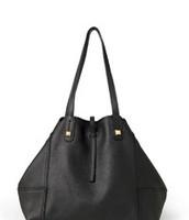 paris market tote - genuine leather, black