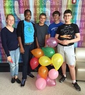 Sophomores with their balloon tower