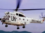 UN Helicopter takes us to the Island