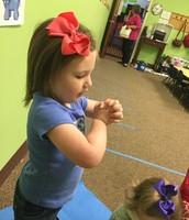 Caroline loves being the prayer leader/ magic soap getter🙏