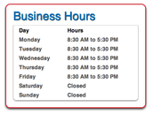 Our business hours!