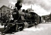 A train during the Industrial Revolution