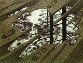Puddle, 1954. Woodcut, from three blocks.