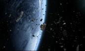 space trash orbiting earth.
