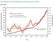 Atmospheric CO2 and surface temperature trend