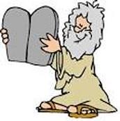 קריקטורה של משה ועשרת הדברות