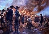 Nathaniel Bacon and Army Burn Jamestown Building