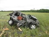 Car damage from tornado