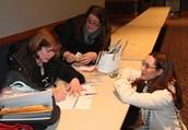 Finishing up paperwork - Debbie, Stacey & Julie