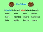 "The letter ""H"" is always silent in Spanish."