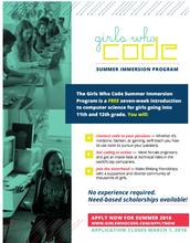 Girls Who Code Summer Immersion Program - March 1 Deadline!
