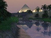 The Nile River with the pyramids in the background.