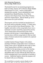 Mentoring Girls through Lambda Upsilon Omega at HiRMS
