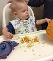 Ben Digging In Our Classroom Pumpkin