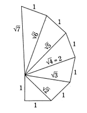 Every triangle has a right angle and a base of 1 unit.