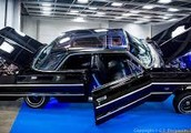 Chrome Black With Blue Stripes Classic White Tires