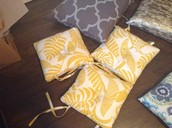 4 yellow chair pads