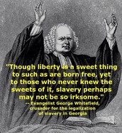 He said that Liberty is a sweet thing to such as are born free,yet to those who never knew the sweets of it, slavery perphaps may not be so irksome