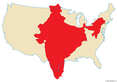 Size of U.S.A compared to India