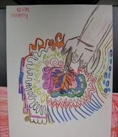 abstract blind drawing...colorful hand