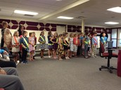 Hill Safety Patrol lead the Pledge at the School Board meeting last Monday night.